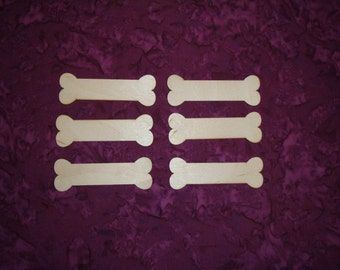 "Dog Bone Shape Unfinished Wood cut outs Bones   6pcs 1.25"" x 3.75"" inch"