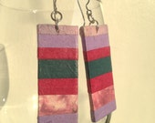 Pink & Purple Handmade Hanji Paper Dangle Earrings OOAK Striped Pink Purple Girly Hypoallergenic hooks Lightweight - HanjiNaty