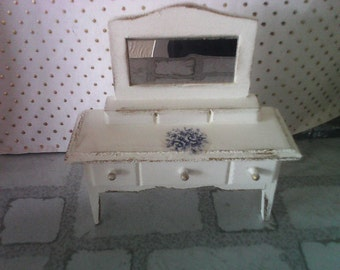 Dollhouse dressing table hand painted  white finished with  with gold trim miniature  bedroom i 12th scale
