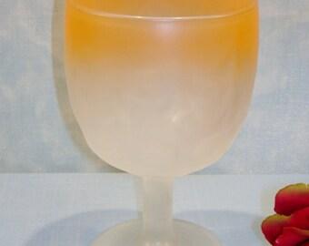 Thumbprint Ripple Orange Frosted Goblet