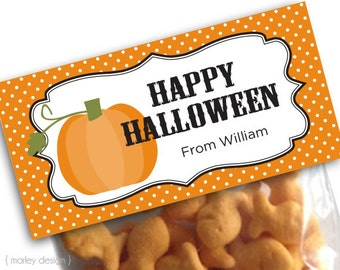 Happy Halloween Printable Treat Bag Toppers Personalized Pumpkin Treat Bags Goody Bags Classroom Digital File