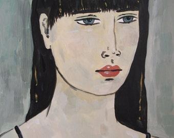 Portrait with Black Hair - Original Portrait Painting