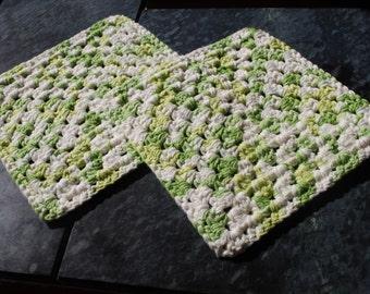 Set of 2 Granny Square Dish / Wash Cloth / Hot Pad - Key Lime Pie