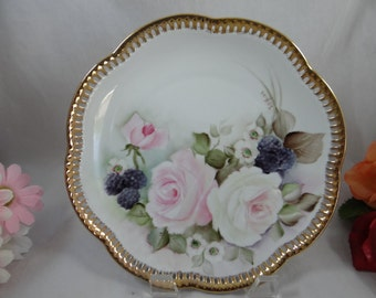 Artist Signed 1930s Vintage Schumann Bavaria Hand Painted Reticulated Lattice Rose Plate - Gorgeous