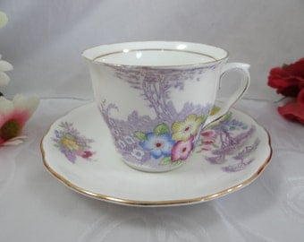 1960s Colclough English Bone China Teacup English Teacup and Saucer with Hand Painted accents English Tea cup