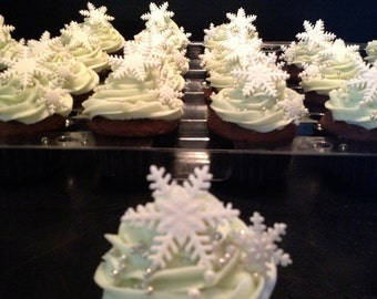Snowflake Fondant Cupcake Toppers - 24