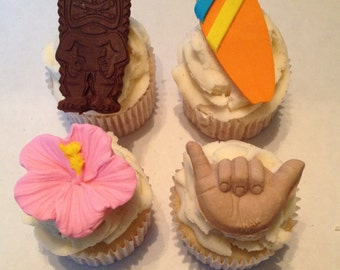 Luau Inspired Fondant Cupcake Toppers