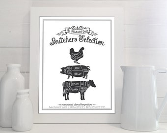 Butchers Selection: An Illustrated Guide Print - Kitchen, Meat Cuts, Butcher, Poultry, Pork, Beef, Steak, Chalkboard, Sign, Decor