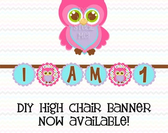 Owl High Chair Banner - INSTANT DOWNLOAD