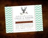 Printable Rustic Modern Deer Twin Boy Baby Shower Invitation - 5x7