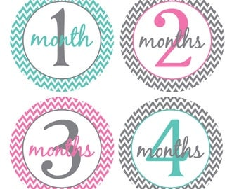 Monthly Growth Stickers, Monthly Baby Stickers, Baby Monthly Stickers, Bodysuit Baby Month Stickers, Girl Chevron