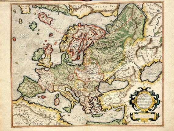 Historische Weltkarte Tapete : Mercator Projection Map of Europe