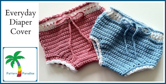 Crochet Pattern for Everyday Diaper Cover Soaker, PDF 12-044 INSTANT DOWNLOAD