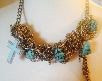 """Womans Necklace, tangled chain """"WORRY AND FAITH"""""""