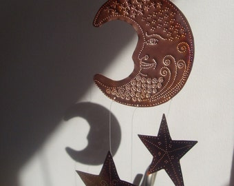 Moon and Stars Copper Decoration