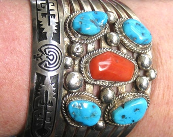 Turquoise Bracelet, Sterling Silver Cuff, Vintage Bracelet, Vintage Turquoise, Native Cuff Bracelet, Signed Jewelry, Bohemian Jewelry