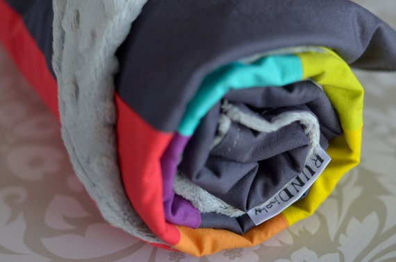 Ready to ship - Over the Rainbow baby Minky blanket 30x35 best of ROYGBV