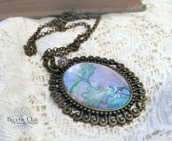 Large Purple Necklace Pendant Nature Jewelry Leaves abstract art Oval in Violet & Green glass Necklace