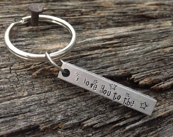 Hand Stamped - Personalized Jewelry - I love You to the Moon and Back Keychain