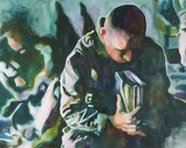 Military Painting Watercolor of Soldiers Praying, Military Art, Christian Art, Paintings of Soldiers, Marines, Armed Forces, In Memoriam