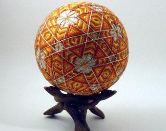 Japanese Temari Ball - Yuki, Snowflake, Design (Red/orange)