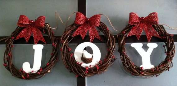 Christmas Wreath Banner, Joy Wreaths, Christmas Decorations, Fireplace Swag, Mantle Swag, Letter Wreath