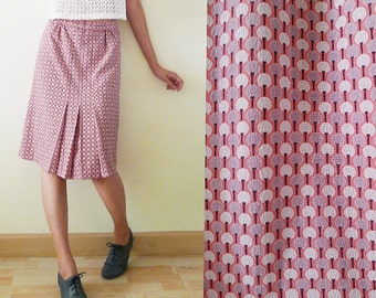 vintage pink midi skirt, high waist,  cute tiny polka dot printed, graphic pattern, with pleat detail at front, a- line, Size S