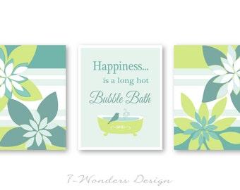 Modern Bathroom Art Prints Happiness is a Long Hot Bubble Bath Set of (3) 5x7 or 8x10 // Citrus Lime, Gray Teal - Bathroom Decor- Unframed