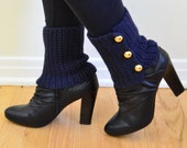 Navy Boot Cuffs, Ankle Warmers, Blue Spats, Button Boot Cuffs, Nautical Accessories, Boot Tops
