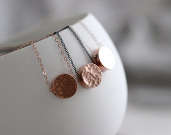 Rose Gold Vermeil Cylinder Bead Pendant Necklace, Mixed Metal Two Tone Charm Necklace, Minimalist Jewelry, Rose Gold Jewelry
