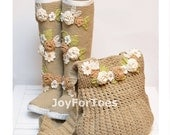 Crochet Boho Boots for the Street + Boho Bag, Crochet Shoes, Boho Bag, Boho Boots, Flower applique, Made to Order