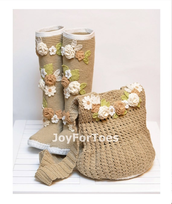 Crochet Boho Boots for the Street + Boho Bag, Crochet Shoes, Boho Bag ...