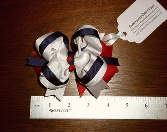 Red white and navy blue stacked hairbow hair bow grosgrain barrette