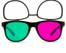 3Diffraction Glasses Black Magenta 3D Lenses Flip Down True Flex PVC Frame Steel Hinges Plastic Lens Superior Quality and Extremely Durable