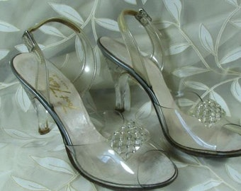 1950s Lucite and Rhinestone/ Crystal High Heels    size 7 1/2 N............  HOLD for SBS