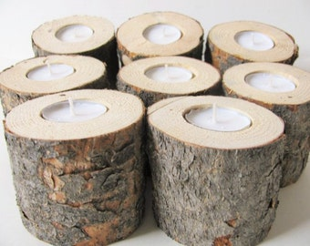 Six pine wood candle holders. Rustic wedding tree log tea lights.