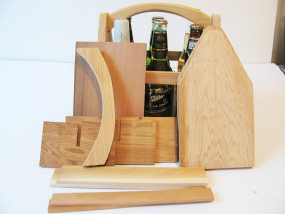 Four DIY  Wood 6 Pack Bottle Carriers, Beer Boat or Beer Tote, Gifts for Men, Gifts for Dad, Groomsmen Gifts