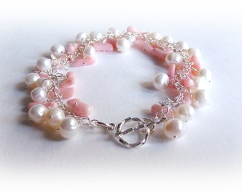 100% Sterling Silver Bracelet with Freshwater Pearls & Pink Coral