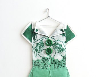 Green Hanky Dress with White Poppies for St Patrick's Day