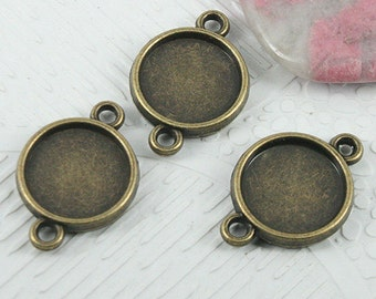 30pcs antiqued bronze round shaped cabochon setting connector EF0719