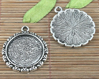 10pcs Tibetan silver color 26mm round cabochon settings charms EF0983