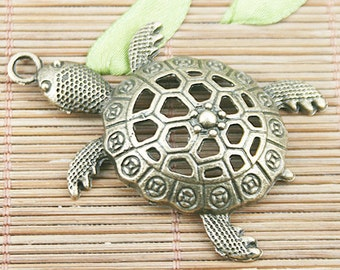 5pcs antiqued bronze old turtle pendant charm EF1233