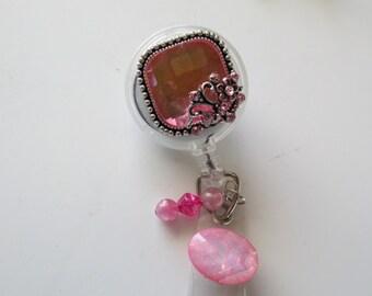 Pink Badge Reel, Retractable Pink Badge ID