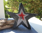 large christmas star,christmas ornament,blue denim,recycled material,cotton fabric,decor button,blue ribbon, rustic,primitive,folkart