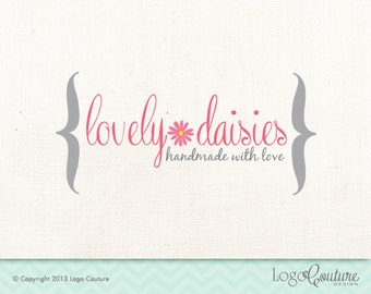 Premade Lovely Daisies Logo - Pink Daisy - Hand made with Love - Premade logo Design