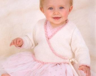 baby knitting pattern for   ballerina cardigan dk wool birth to 2 years