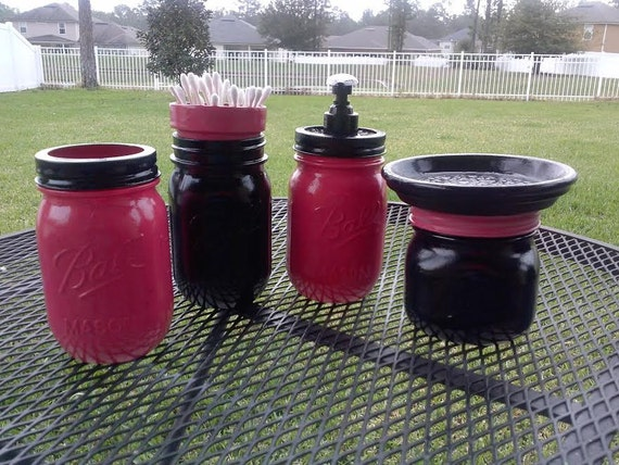 Ball mason jar bathroom set dark gray hot pink and black for Pink and black bathroom sets