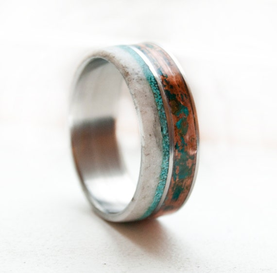 mens wedding band patina copper antler by stagheaddesigns
