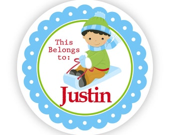 Name Tag Stickers - Fun Blue and Green Winter Boy Sled Personalized Name Label Tag Stickers - 2 inch Round Tags - Back to School Name Label
