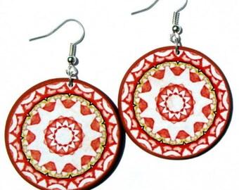 Orange tribal earrings, statement dangle, round dangle earrings, kaleidoscope earring, funky gypsy jewelry, bohemian style earrings
